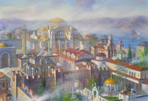 Painting, City landscape - Constantinople in the 9th century during the era of the Macedonian dynasty