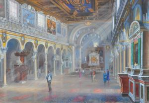 Painting, Interior - The interior of the temple« Santa Maria in Araceli