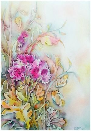 Graphics, Still life - Watercolour «Autumn flowers»