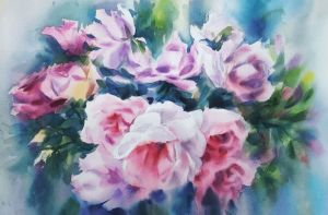 Painting, Abstractionism - delicate roses