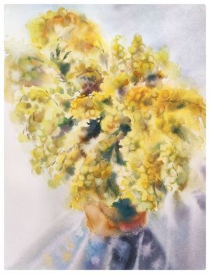 Painting, Plot-themed genre - bouquet with mimosa