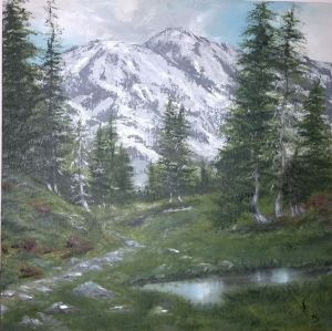 Painting, Landscape - A fairy tale in the mountains