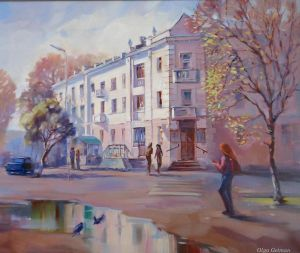 Painting, City landscape - Spring in the city