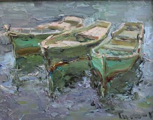 Painting, Seascape - «Three boats»