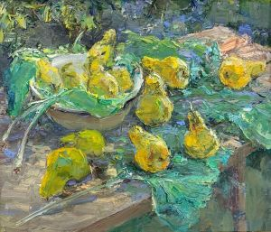 Painting, Impressionism - Pears in the foliage