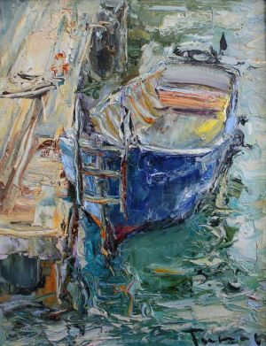 Painting, Seascape - «Balaklava boats No14. Journey to the Crimea»