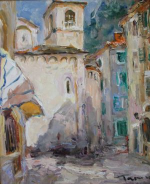 Painting, City landscape - «In yards. Budva»