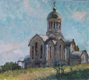 Painting, Impressionism - The Church in Varvarivka