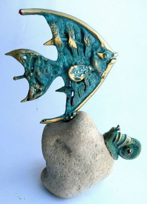 Sculpture, Avant-gardism - Metal Bronze Sculpture Art Home Office Decor Anniversary Gift «Fish and Snail»