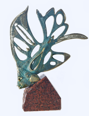 Sculpture, Animalistics - Fish Sculpture Bronze Figurine on Stone Sea Art Ocean Nautical Home Decor Luxury Gift