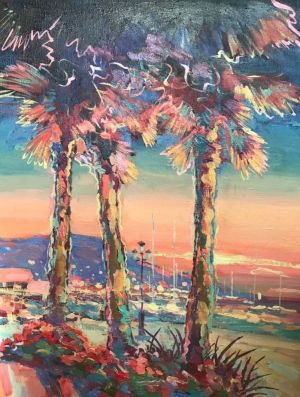 Painting, Expressionism - Yalta sunset