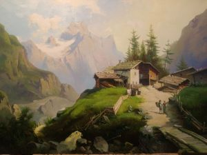Painting, Realism -     View of the Dachstein mountains