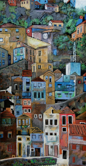 Graphics, City landscape - Town-2 (diptych)