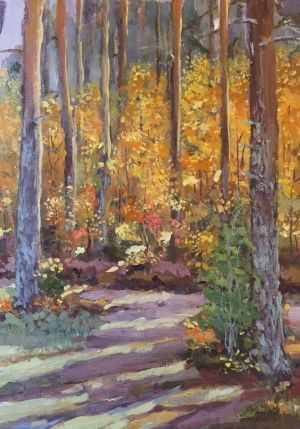 Painting, Realism - Autumn.Warm glow