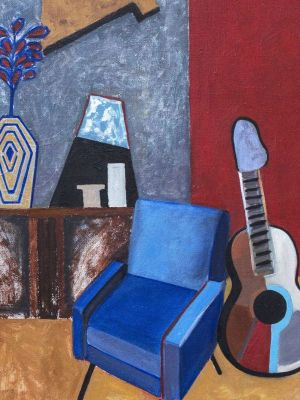 Painting, Interior - Interior with blue armchair and guitar