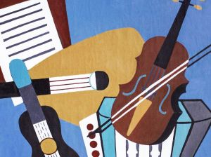 Painting, Modern - Stillife with musical instruments
