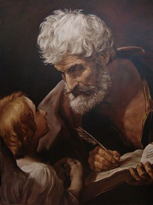 Painting, Realism -  Saint Matthew and the angel (copy of Guido Reni)