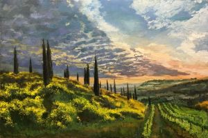 Painting, Impressionism - Italy, Tuscany, sunset, cypress trees