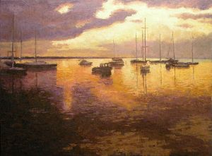 Painting, Impressionism - GOLD Dawn