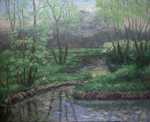Painting, Oil - ISMAILO, SPRING, FIRST GREEN