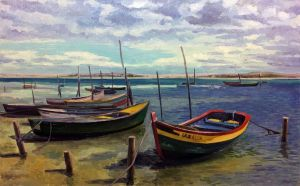 Painting, Impressionism - Shallow fishing boats