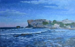 Painting, Impressionism - Cyprus North, Kayalar, wild beach