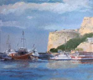 Painting, Seascape - Cyprus North, Girna, ramparts - Morina