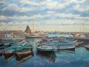 Painting, Impressionism - EVENING IN PORT