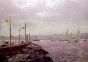 Painting, Impressionism - SAINT TROPEZ, lighthouse