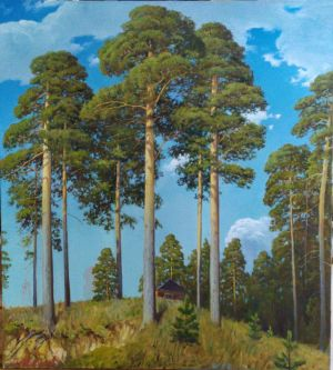 Painting, Landscape - Under the pines.