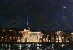Painting, Impressionism - And a comet flies like my life, over the city of Peter