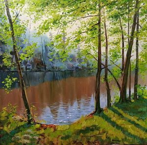 Painting, Landscape - Warm forest