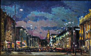 Painting, City landscape - Vienna By Night
