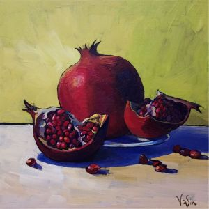 Painting, Still life - Pomegranate