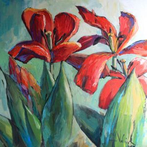 Painting, Still life - Tulips