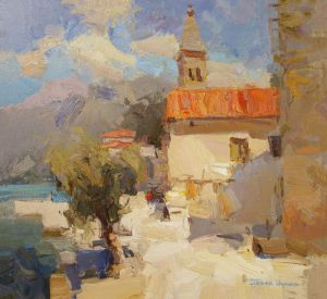 Painting, Impressionism - Hot Midday in Montenegro