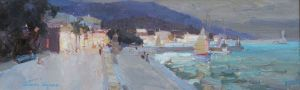 Painting, Impressionism - Late Evening in Yalta