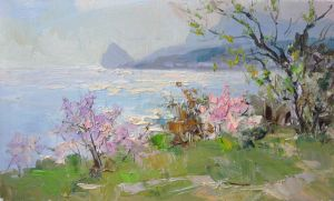 Painting, Seascape - Spring evening in Alupka
