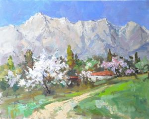 Painting, Landscape - Spring mountains