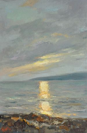 Painting, Seascape - Evening in Sunny valley