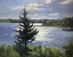 Painting, Landscape - Spruce by the lake