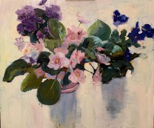 Painting, Realism - Violets