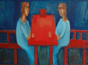 Painting, Primitivism - Red teapot