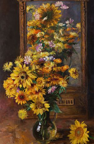 Painting, Still life - Still life with sunflowers