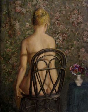 Painting, Nude (nudity) - Model on tapestry background