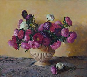 Painting, Realism - Still life with asters