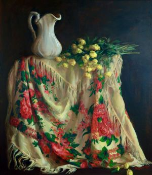 Painting, Realism - The Globe-flower on a Painted Shawl