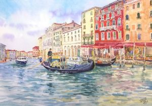 Graphics, City landscape - Midday in Venice