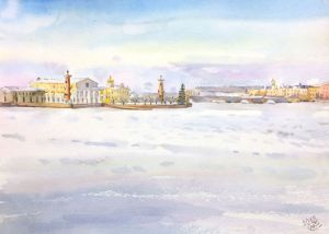 Graphics, City landscape - Vasilievsky island. Saint Petersburg