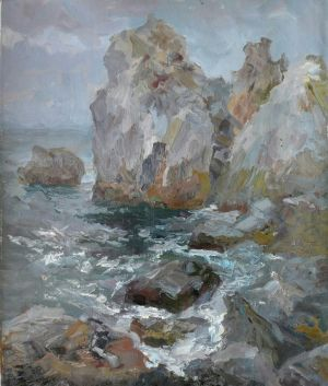 Painting, Seascape - Skala-AS-Pushkina-v-Gurzufe-ryadom-s-dachey-CHehova